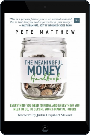 Cover of The Meaningful Money Handbook on Tablet by Pete Matthew