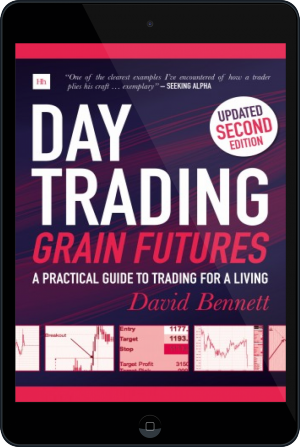 Cover of Day Trading Grain Futures on Tablet by David Bennett