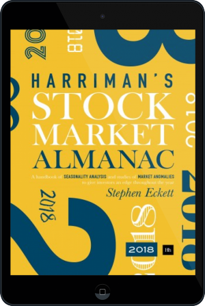 Cover of The Harriman Stock Market Almanac 2018 on Tablet by Stephen Eckett