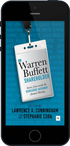 Cover of The Warren Buffett Shareholder on Mobile by Lawrence A. Cunningham and Stephanie Cuba