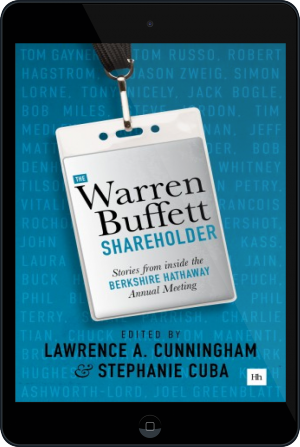 Cover of The Warren Buffett Shareholder on Tablet by Lawrence A. Cunningham and Stephanie Cuba