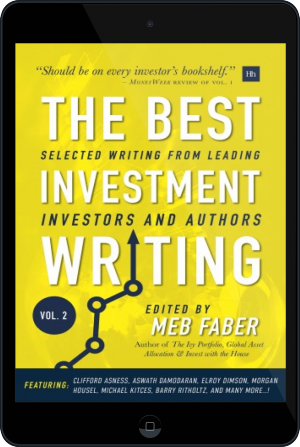Cover of The Best Investment Writing Volume 2 on Tablet by Meb Faber