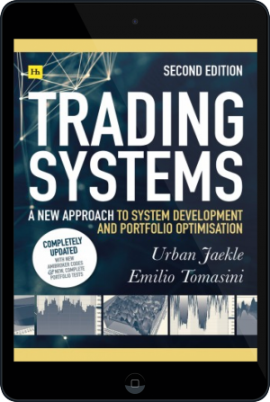 Cover of Trading Systems 2nd edition on Tablet by Emilio Tomasini and Urban Jaekle