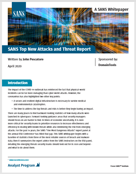 SANS Top New Attacks and Threat Report
