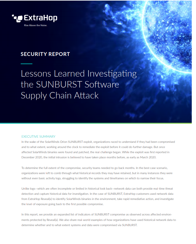 Lessons Learned Investigating the SUNBURST Software Supply Chain Attack