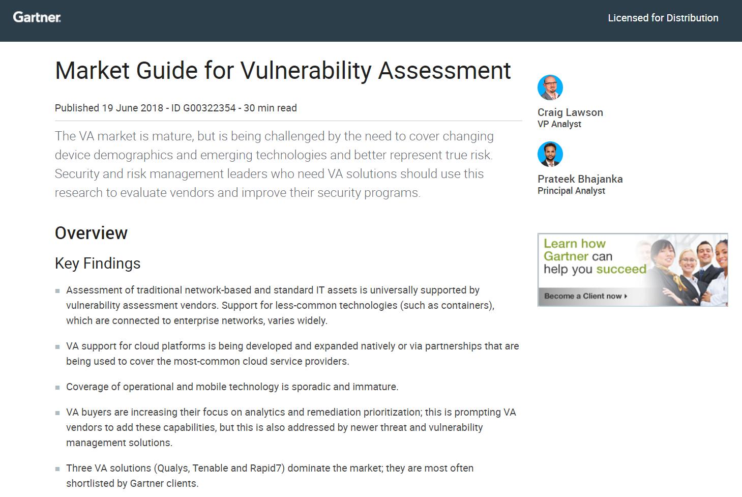 Gartner: 2018 Market Guide for Vulnerability Assessment