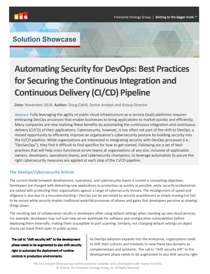 Automating Security for DevOps: Best Practices for Securing the Continuous Integration and Continuous Delivery (CI/CD) Pipeline