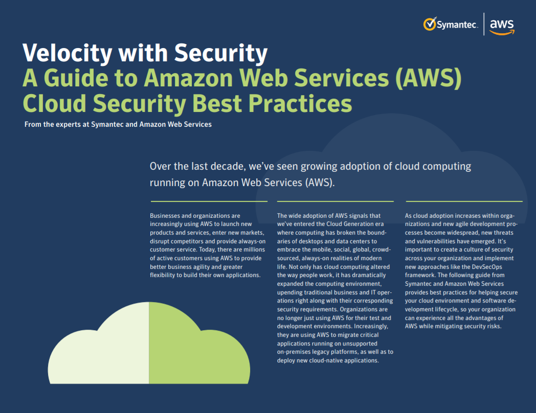 Velocity with security: A guide to Amazon Web Services cloud security best practices