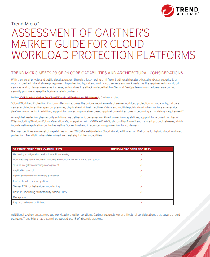 Assessment of Gartner's market guide for cloud workload protection platforms