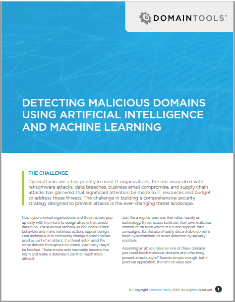 Detecting Malicious Domains Using Artificial Intelligence and Machine Learning