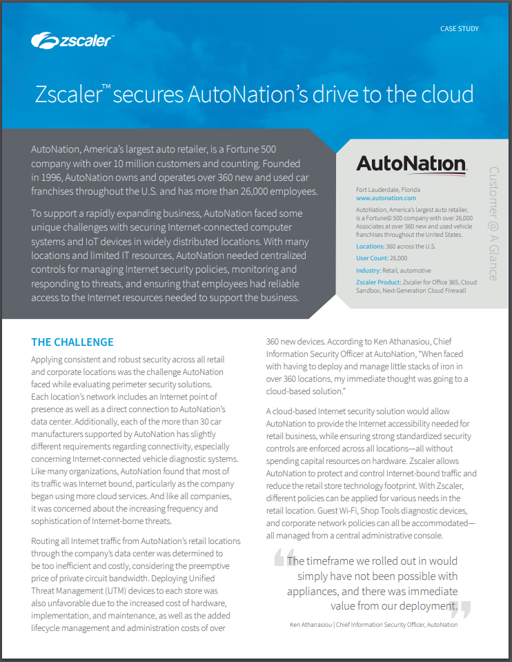 AutoNation securely drives to the cloud
