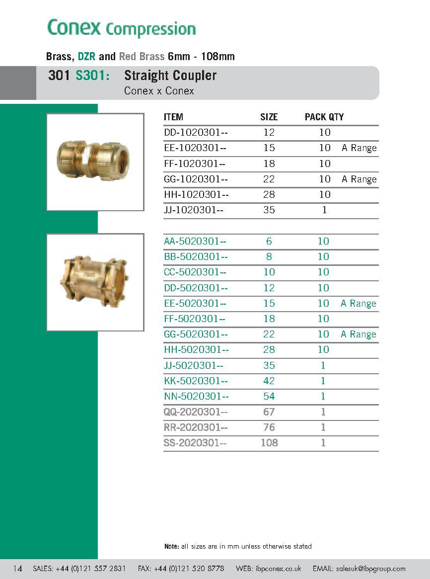 Conex Straight Coupler PDF