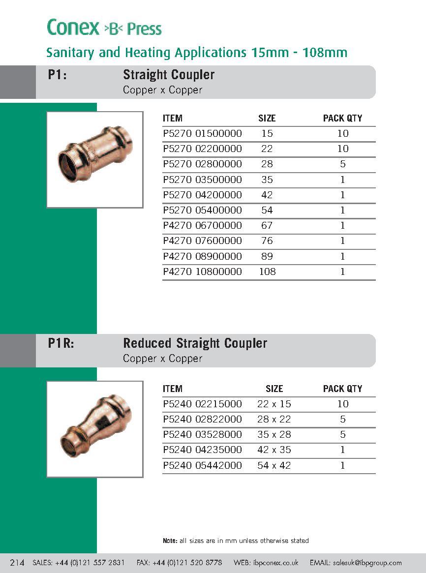 Straight Connector Conex B Press PDF