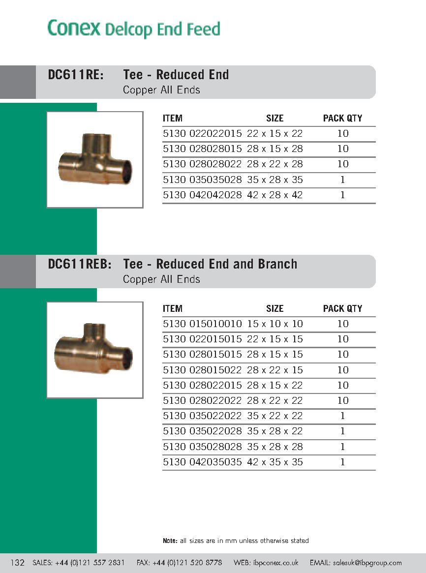 Endfeed Wras Tee Reduced End/Branch PDF