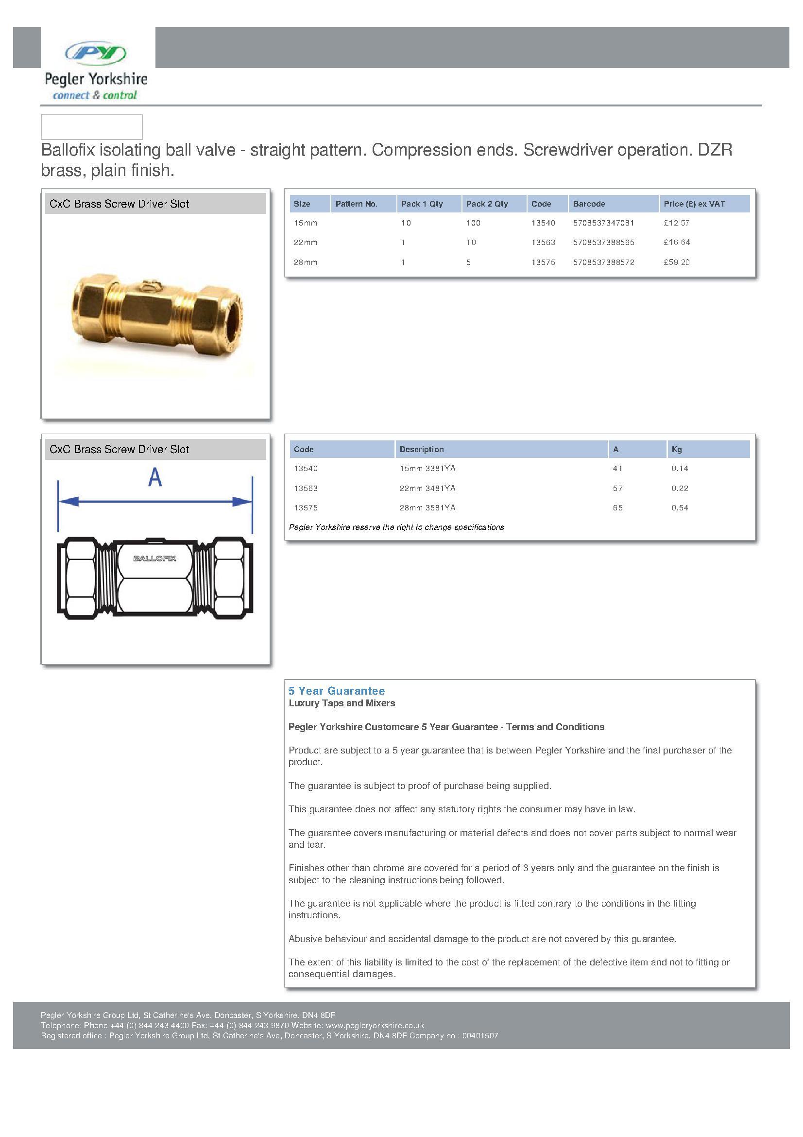 Ballofix 3481YA 22mm Copper TO Copper Brass PDF
