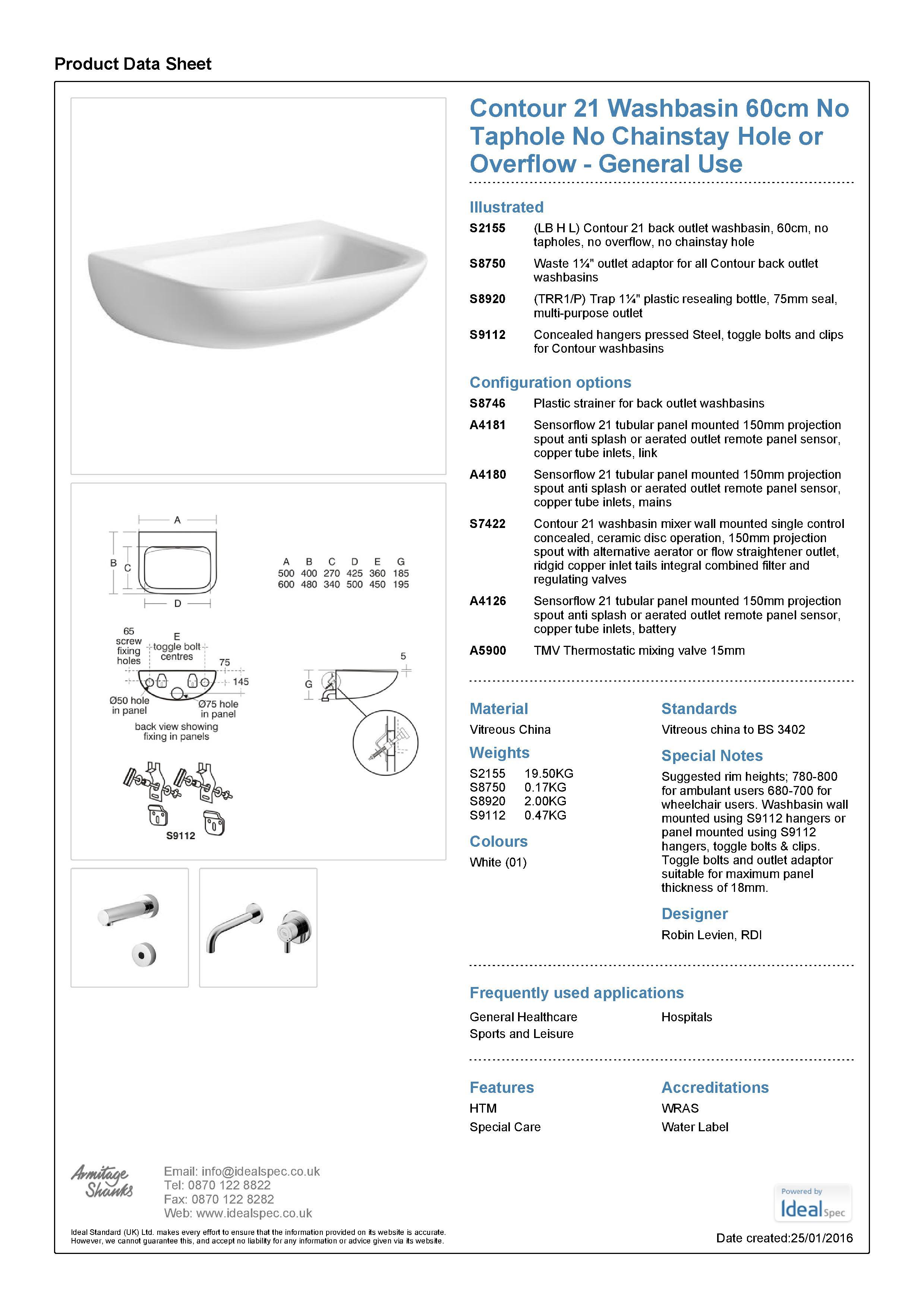 Contour 21 Basin No Taphole PDF