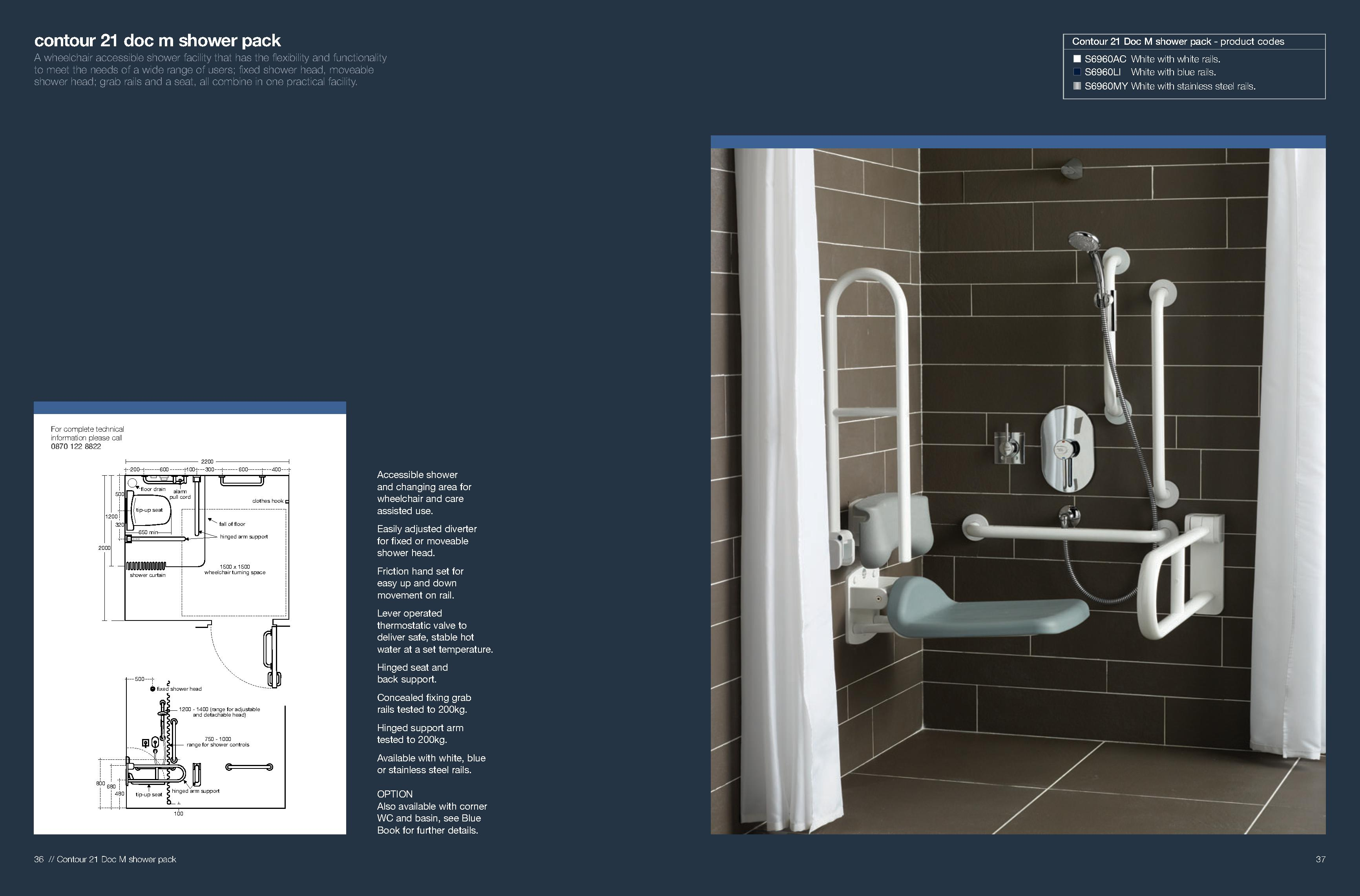 Doc M 21 Shower Pack Blue Rails S6960LI -Harris & Bailey Ltd