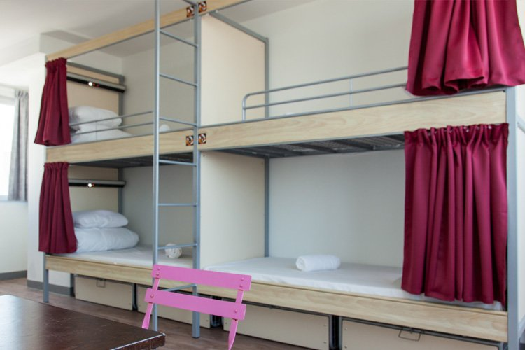 hostel with safe dorms and curtains