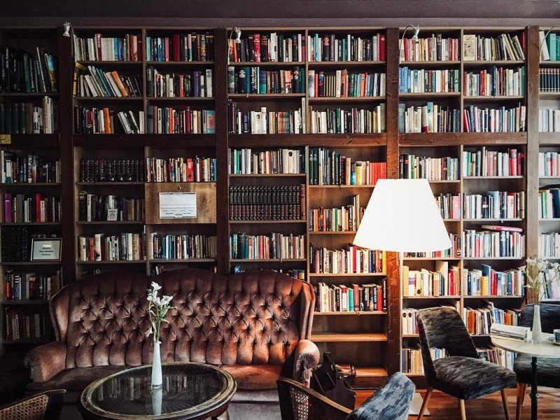 hostel with a library and bar