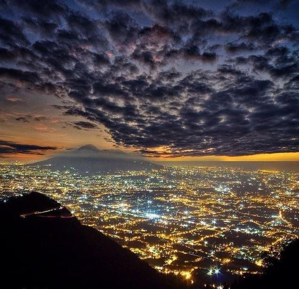 Hilltop view of Naples and Vesuvius