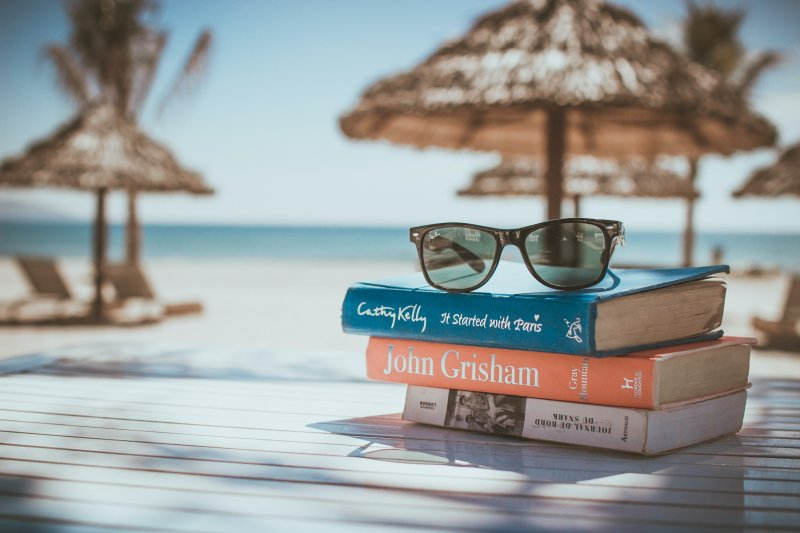 sunglasses, books, beach