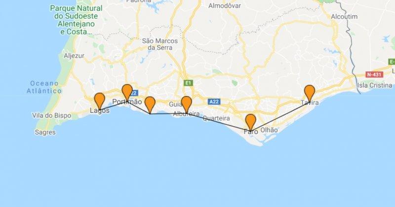 O que fazer no Algarve em setembro - mapa da viagem