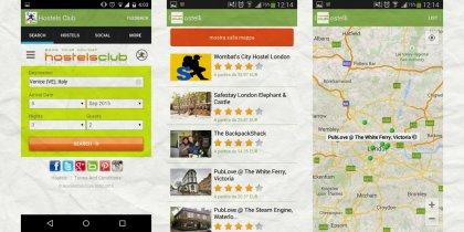 Alcune schermate della app di HostelsClub