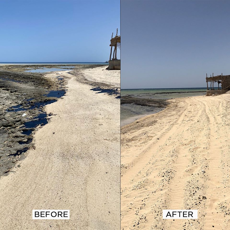 Removing of a large oil stain in Marsa Alam