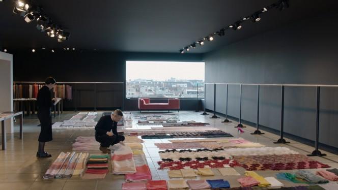 Dries Van Noten selecting fabrics for the Women Summer collection 2016 in his studio in Antwerp
