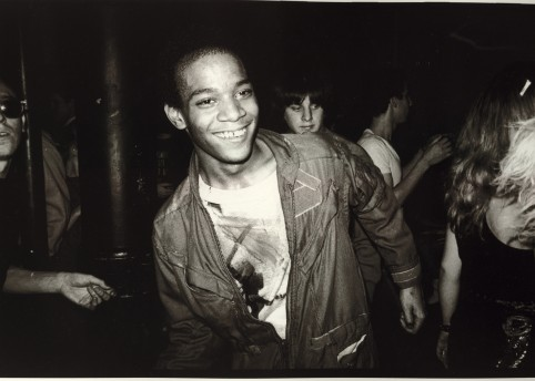Jean-Michel Basquiat dancing at the Mudd Club with painted t-shirt, 1979 Courtesy Nicholas Taylor