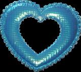 Applicatie Hart blauw satijn