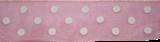 Organza lint Roze met witte stippen