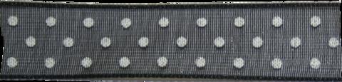 Organza lint Zwart met witte stippen