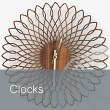 A stunning collection of clocks handmade in the UK. Contemporary and original designs made from wood