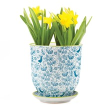 Large Plant Pot Blue Birds