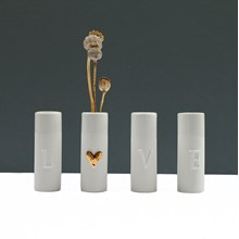 Set of 4  L O V E  bud vases