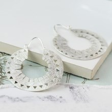 Silver Plated Cut-out Hoop Earrings