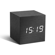 Gingko Black Click Clock Cube