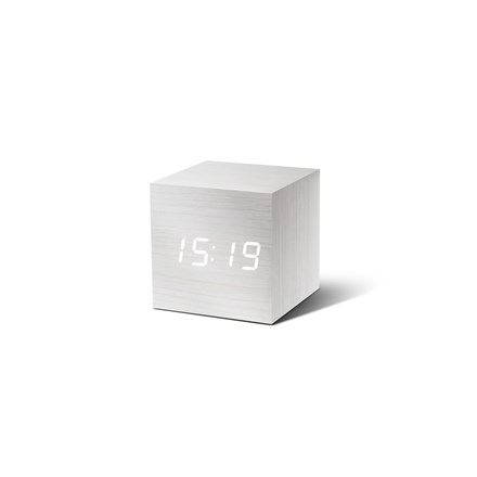 Gingko White Click Clock Cube