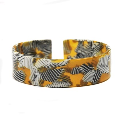 Yellow Zebra Acrylic Bangle