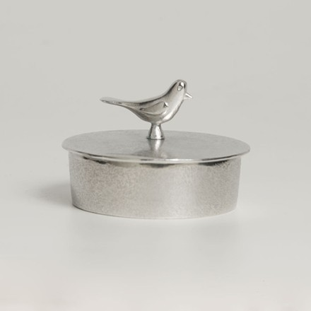 Hand Cast Pewter Jewellery Box with Bird Handle