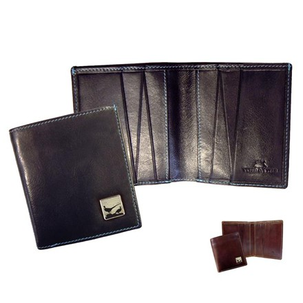 Leather Jeans Wallet with Pheasant Logo in Black or Brown Leather
