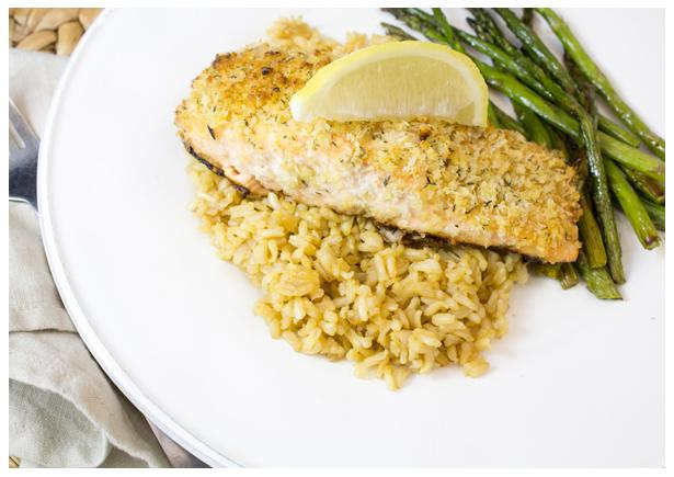 Walnut Crusted Salmon with Roasted Green Beans