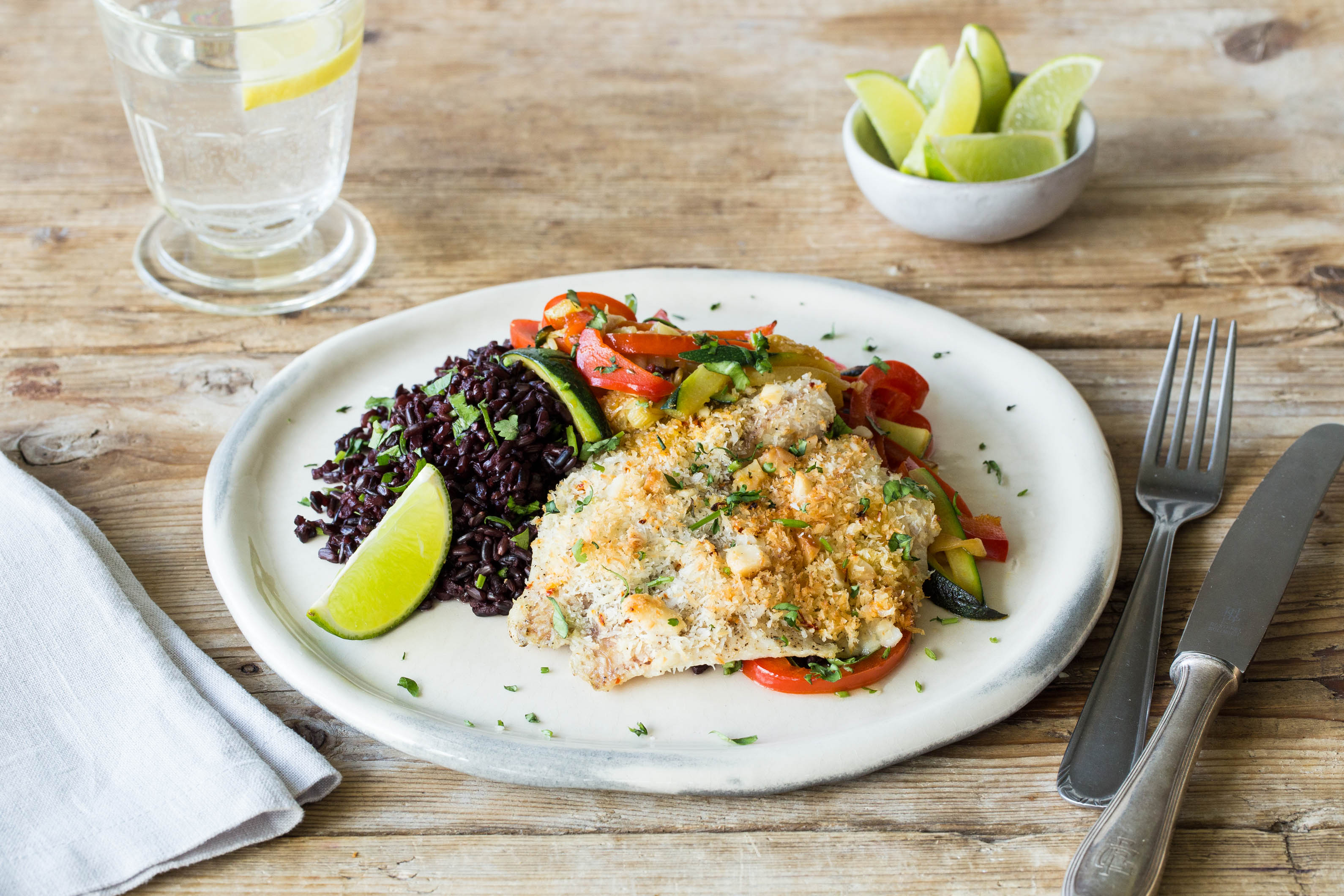 Coconut & Macadamia-Crusted Tilapia with Zucchini, Red Bell Pepper ...