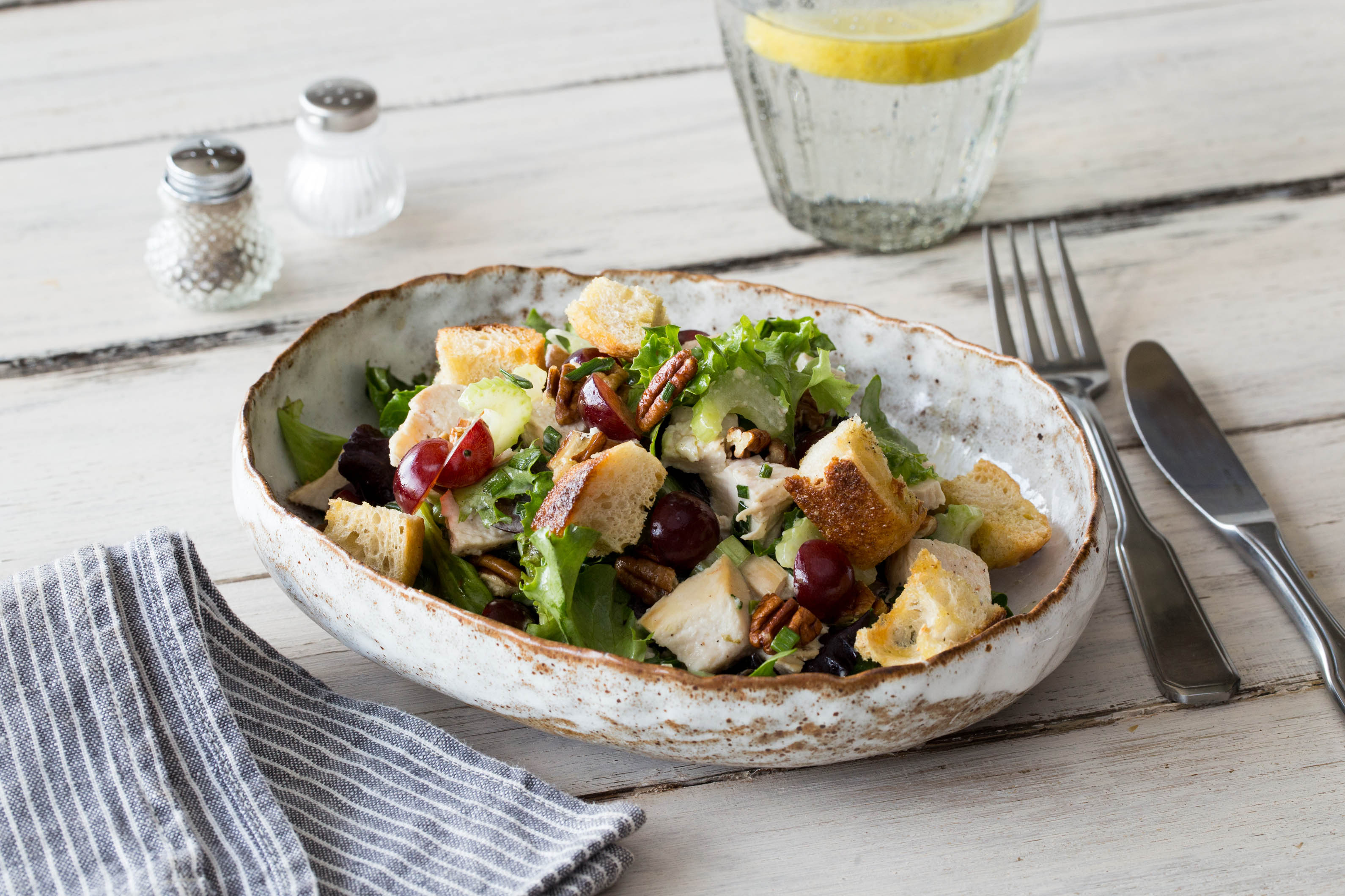Sonoma Chicken Salad with Pecans, Grapes, and Garlic Croutons Recipe ...