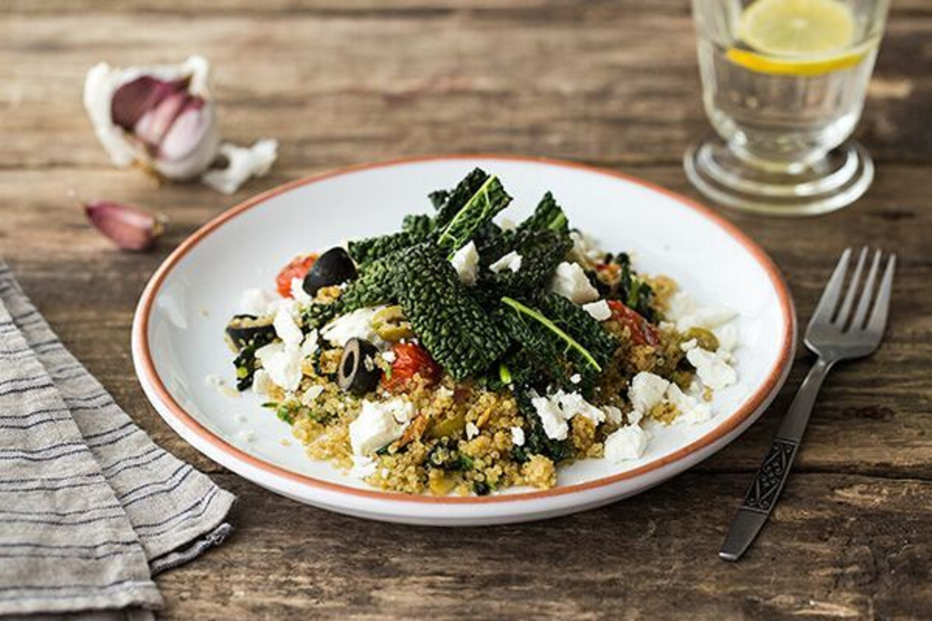 Mediterranean Quinoa Bowl with Kale Chips, Olives and Feta Recipe ...