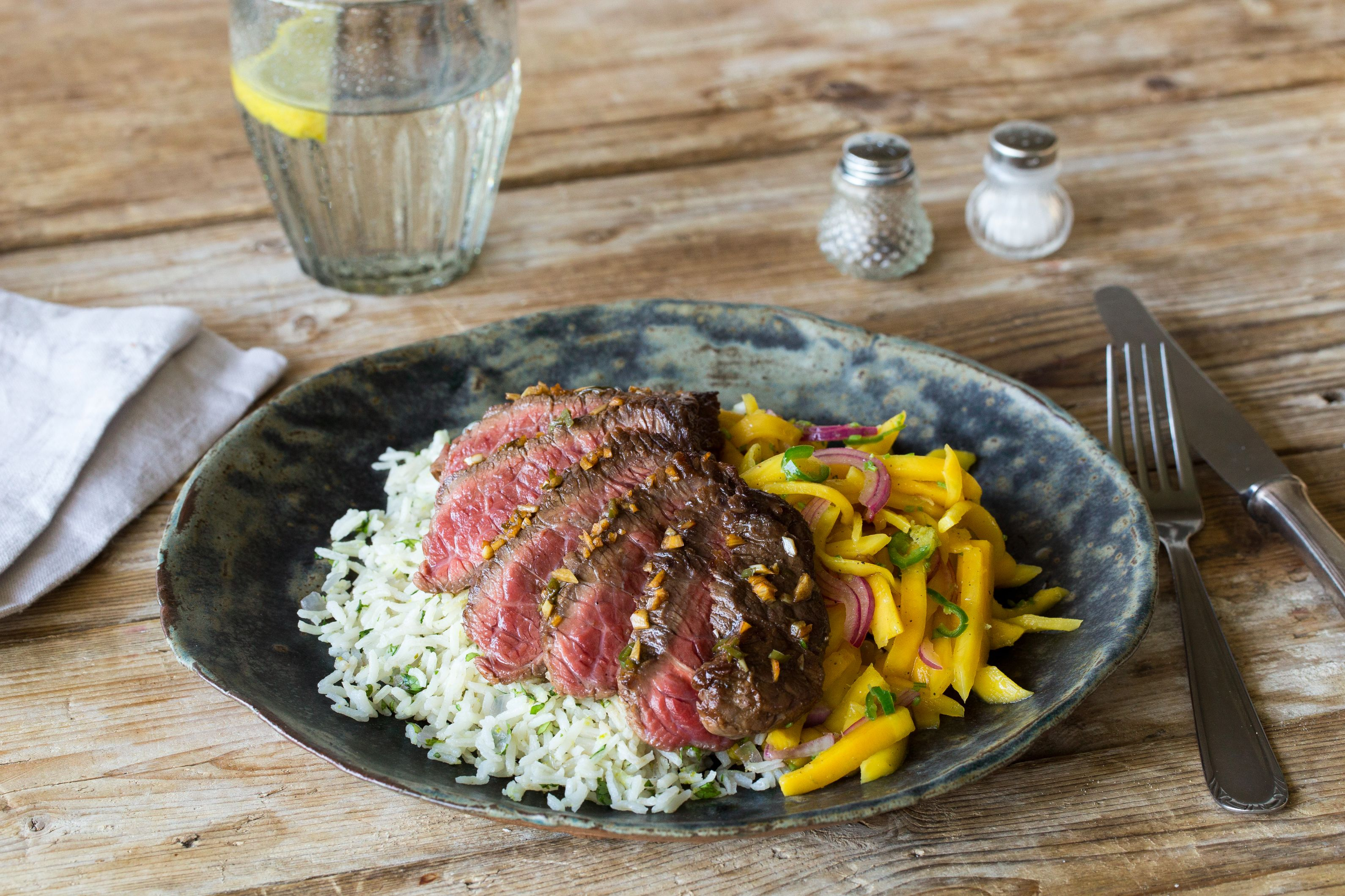 Serrano Steak with Mango Slaw and Cilantro-Lime Rice ...