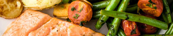 Roasted Salmon with Garlicky Tomatoes and Crushed Potatoes thumb