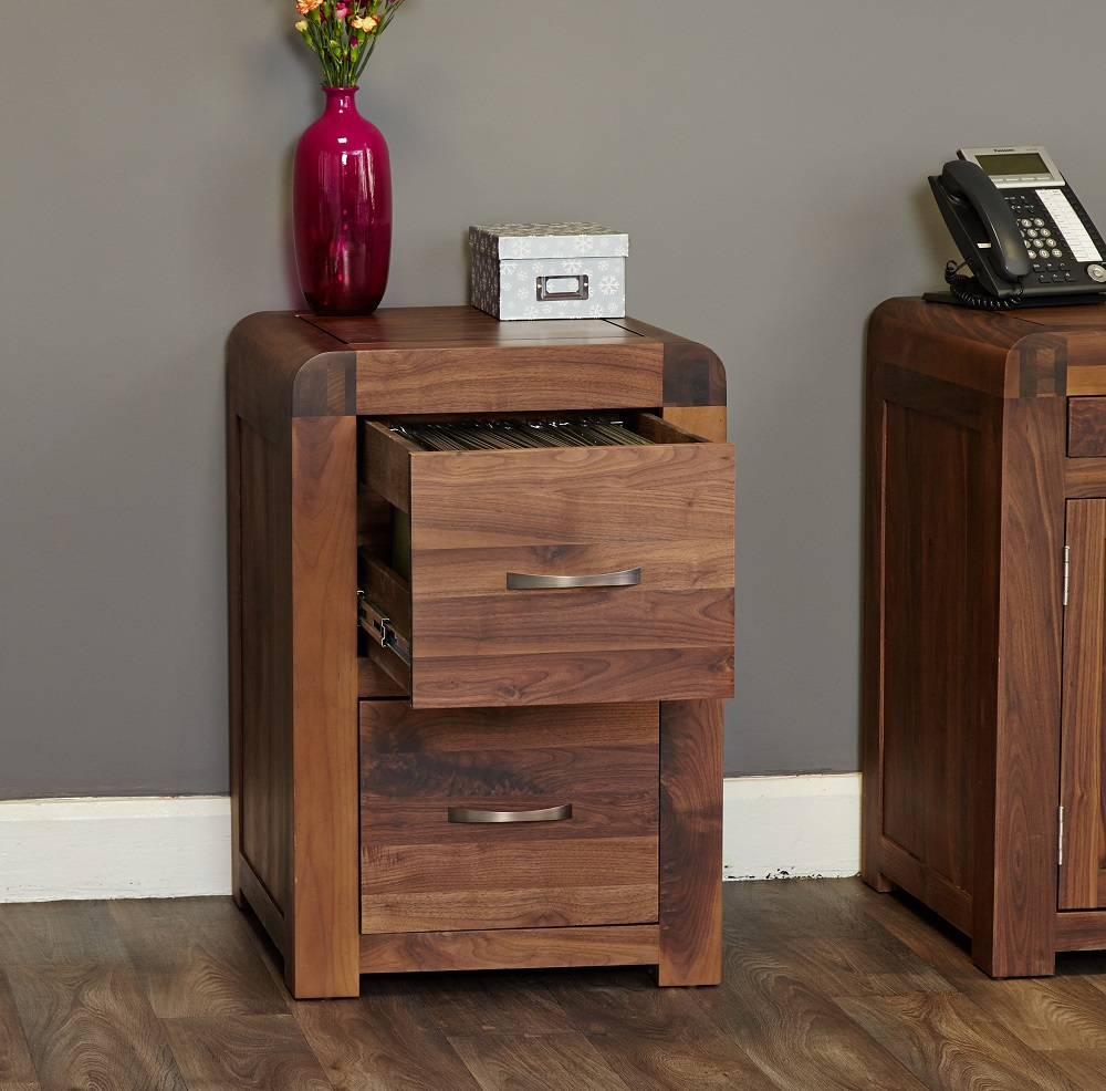 Sophisticated Walnut Filing Cabinet - Small