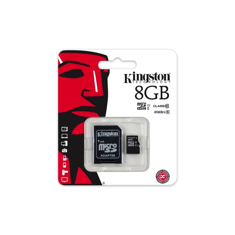 8GB MICROSDHC CLASS CARD + SD ADAPTER
